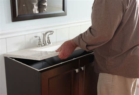 how to install bathroom vanity against wall how to install a bathroom vanity at the home depot at the