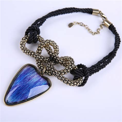 Handmade Leather Necklaces - n1672 gold big resin pendant retro shape necklace