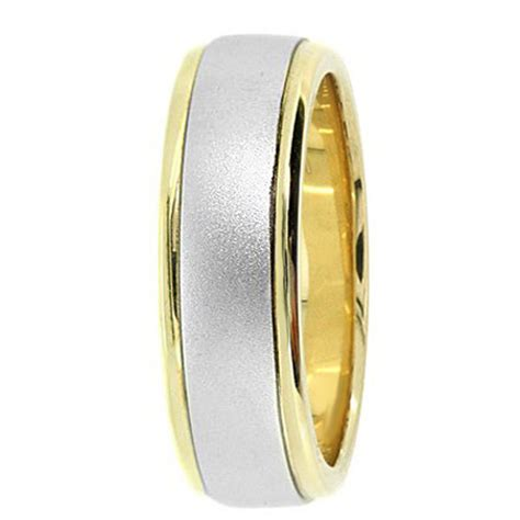 Two Tone Gold Wedding Band - wedding band 14k two tone gold matte comfort fit ring