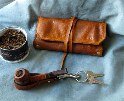 leather pipe tobacco pouch handmade in the u s a 75