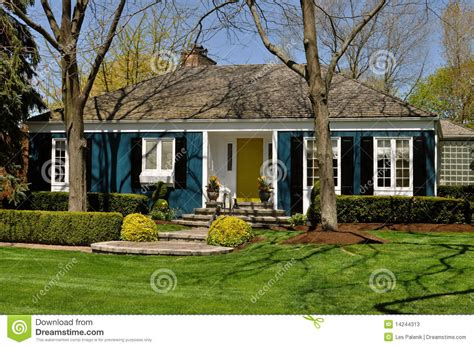 House Backyard Landscape by Blue House With Landscaping Stock Image Image 14244313
