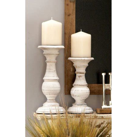White Candle Holder Set by And Sweet Wooden Candle Holder Set Of Three In White