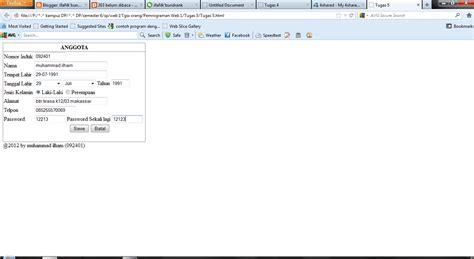 kode html membuat form biodata membuat form biodata di html illank berbagai
