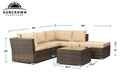 Suncrown Outdoor Furniture Sectional Sofa (4 Piece Set