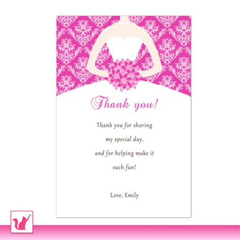 thank you letter to for bridal shower printable personalized fuchsia pink damask thank by