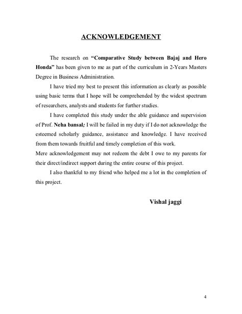 Acknowledgement Letter Draft Project Report Of Research Methodology On Comparative Study Of Bajaj