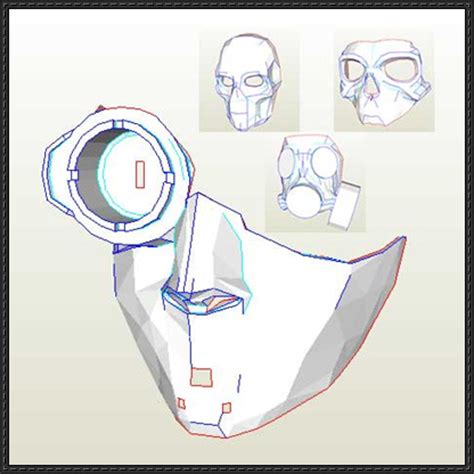paper helmet template steunk sci fi mask paper models free templates