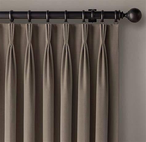 curtains with pleats straight lined tailored and neatly stitched that is