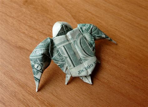 Turtle Origami Dollar Bill - dollar bill origami sea turtle by craigfoldsfives on