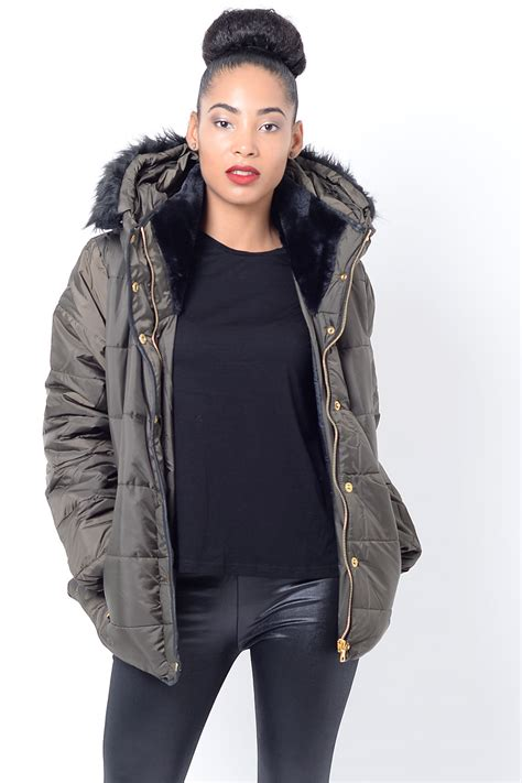 Faux Fur Padded Jacket stylish faux fur padded jacket padded jackets