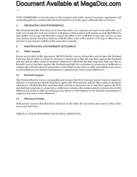 common separation agreement template bc alberta separation agreement forms and business