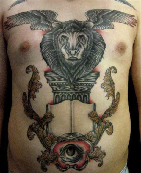 tattoo old school wing chest old school belly lion wings tattoo by carnivale tattoo