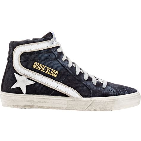 golden goose deluxe brand slide sneakers in blue lyst