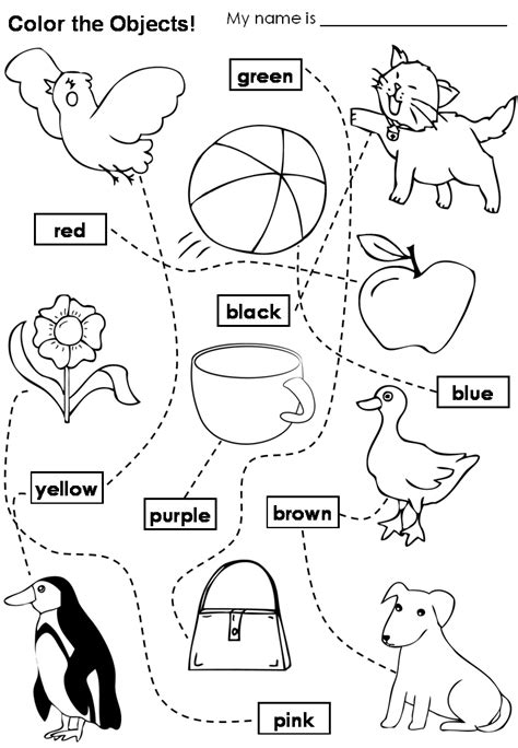 Colours Learning Funny English Coloring Worksheets For