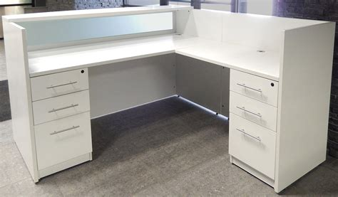 white and glass desk l shaped white reception desk w frosted glass panel