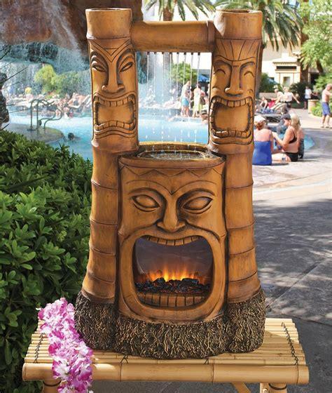 tiki bar decor waterfall polynesian tiki statue lighted