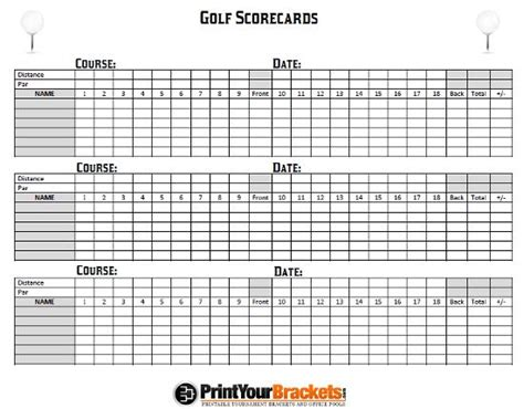 Web Golf Score Cards Template by Printable Golf Scorecards Print Golf Scorecard Golf
