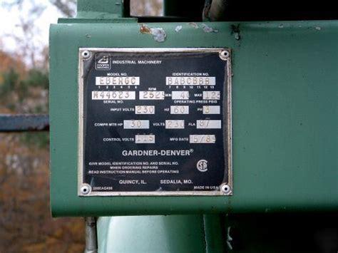 gardner denver electra screw air compressor  hp
