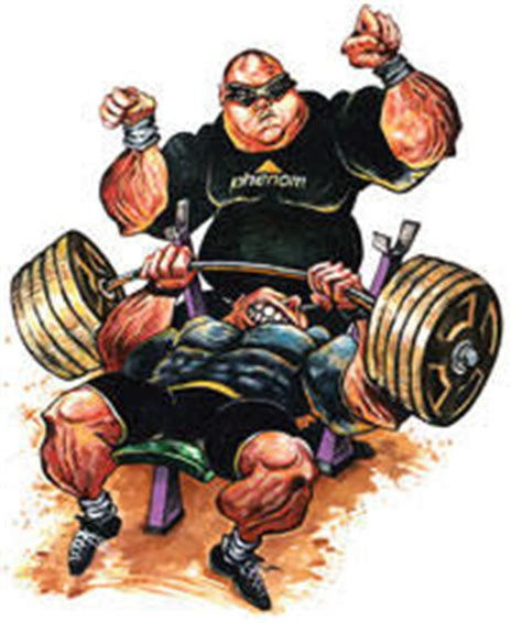 cartoon bench press of stones and strength of benches and wenches