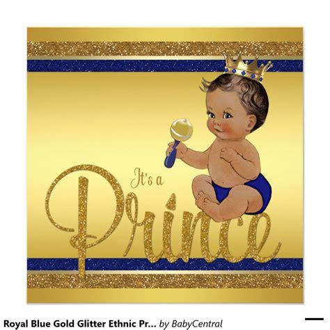 prince ethnic background royal blue gold glitter ethnic prince baby shower
