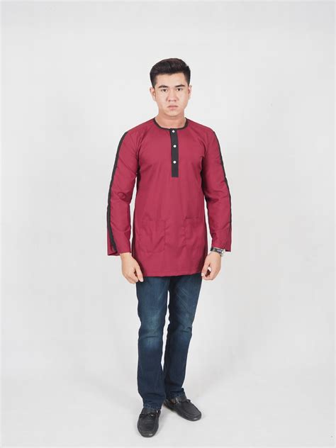 11th street malasiya boys dress bd45sa1694 men kurta maroon 11street malaysia tops
