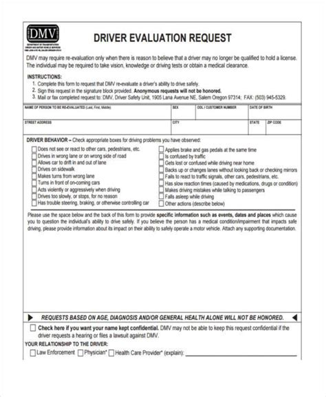 request for evaluation template sle driver evaluation forms 8 free documents in word