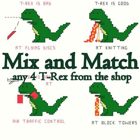 Mix And Match 4 cross stitch patterns mix and match t rex set 4 patterns