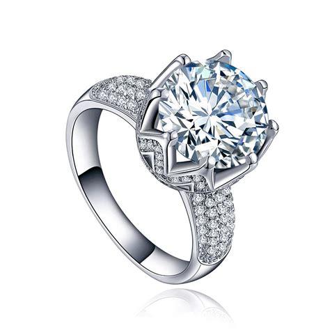 tulip zircon platinum plated silver engagement ring