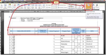 cara membuat header tabel di excel tidak bergerak cara membuat judul tabel di word secara otomatis al maududy