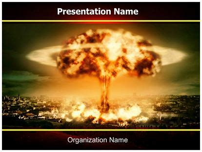Nuclear Bomb Explosion Powerpoint Template Background Subscriptiontemplates Com Nuclear Powerpoint Template