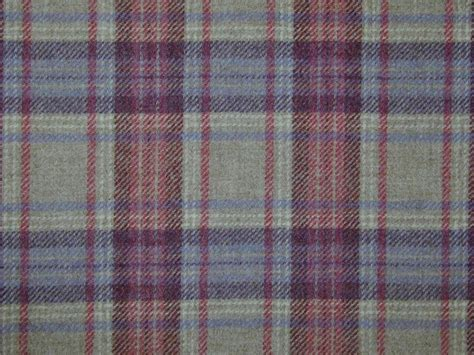 upholstery tartan curtain fabric highland wool tartan mauve natural rose