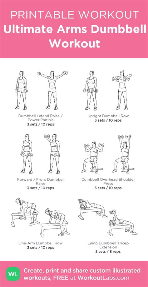 printable workout plan for gym ultimate arms dumbbell workout my custom workout created
