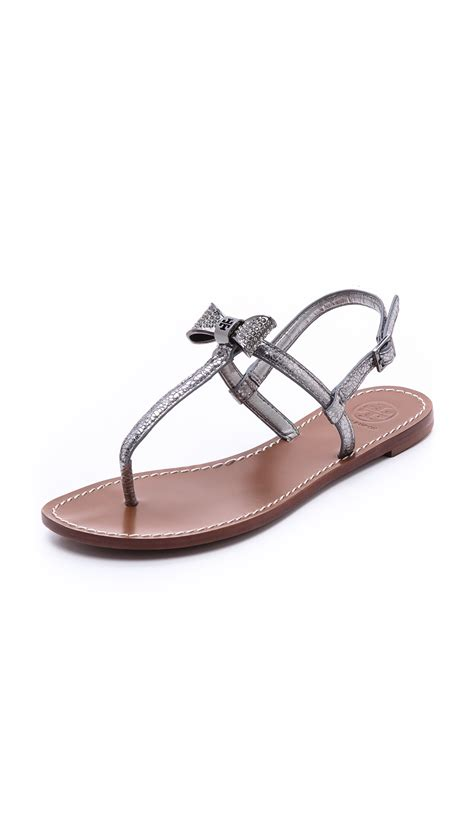 flat sandals with bows lyst burch bryn pave bow flat sandals in gray