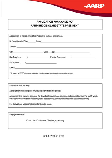 Aarp Rhode Island State President Application For Candicacy Printable Pdf Download Aarp Card Template