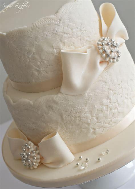 Nice 2 Tier Wedding Cake Sugar Ruffles Elegant Wedding