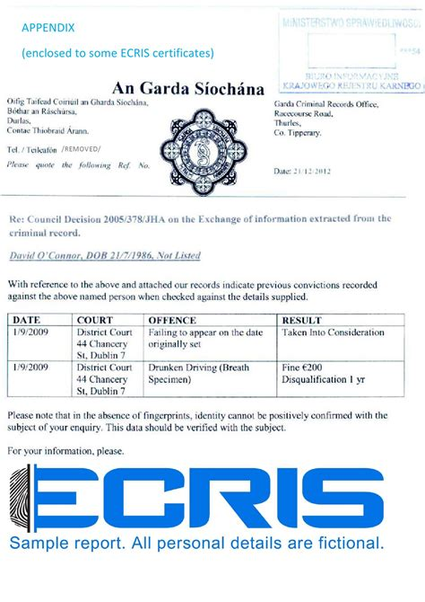 National Criminal Record Criminal Record Check From Garda Central Vetting Unit Ecris