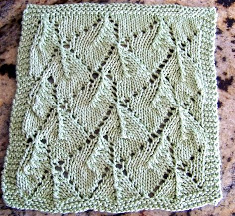 leaf pattern knitted squares free kitchen dishcloth pattern from laws of knitting com