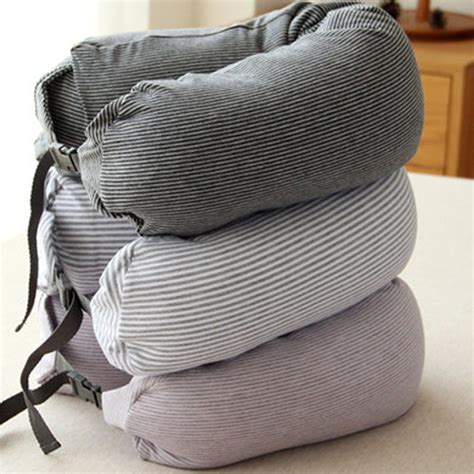 muji inspired well fitted microbead travel pillow grey