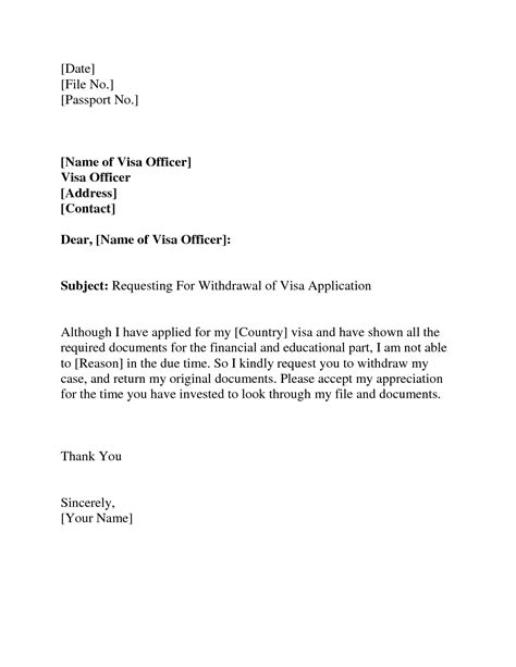 Letter Format For Withdrawal Of Fd visa withdrawal letter request letter format letter and emailvisa invitation letter to a friend