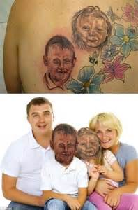 Tattoo Family Portrait Fail | terrible tattoos of bad portraits and animal drawings are