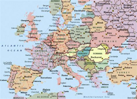 printable road map western europe europe map map pictures