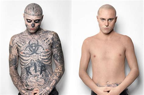 tattooed zombie boy before and after tattoo concealer