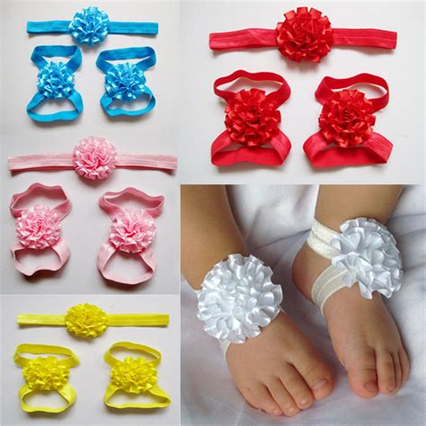 how to make baby barefoot sandals with ribbon newborn headbands fabric boutique ribbon flowers baby