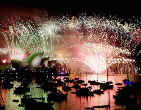 light firecrackers around the new year fireworks light up the sky sydney opera house happy
