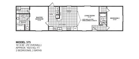 2 bedroom 2 bath mobile home floor plans model 375 16x66 2bedroom 2bath oak creek mobile home