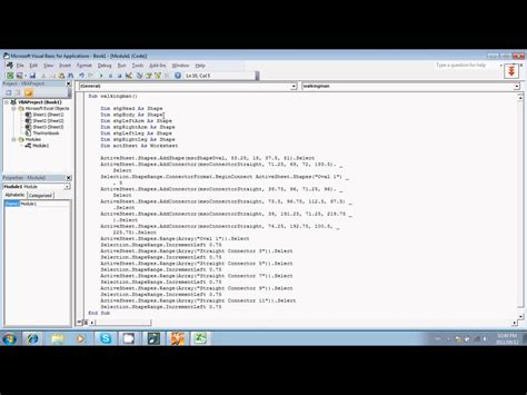 tutorial excel developer simple programming tutorial excel vba walking man