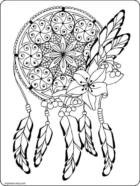 dream catcher adult coloring page coloring adult