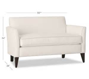 marcel upholstered mini sofa pottery barn