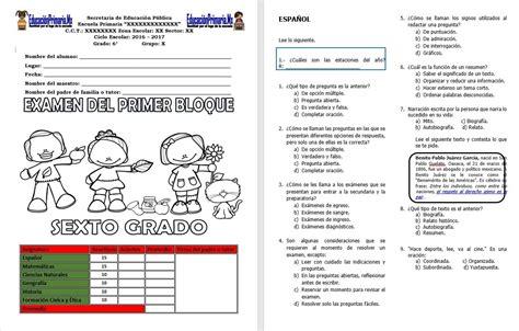 examen bimestral del primer bloque de sexto grado ciclo escolar 2014 examen del sexto grado del primer bloque del ciclo escolar