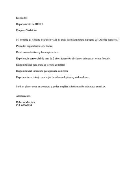 Ejemplo de carta de presentación para comercial